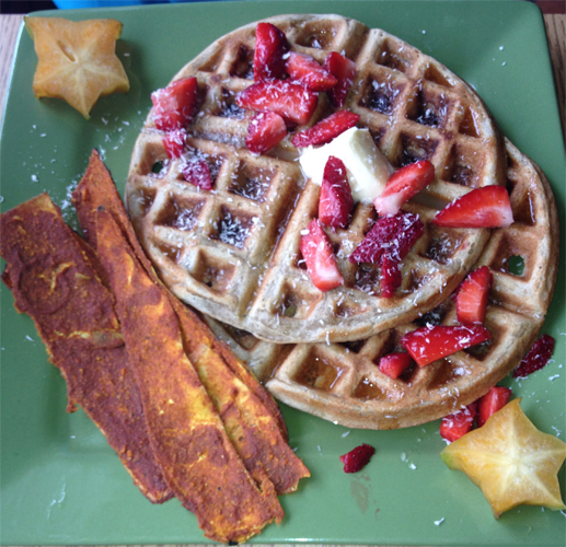 Fluffy Belgian Waffles with Vegan Bacon