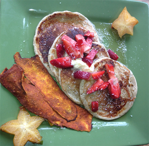 Vegan Buckwheat and Millet Pancakes $7, With Zucchini Bacon $3