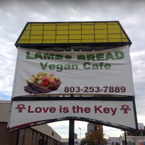 Lambs Bread SignS Lambs Bread Vegan Café in Columbia, SC, Serves Non GMO, Organic Soul Food!