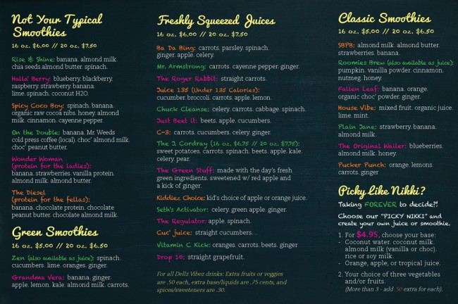 Dell z vibez smoothie and juice bar in downtown for Whole food juice bar menu