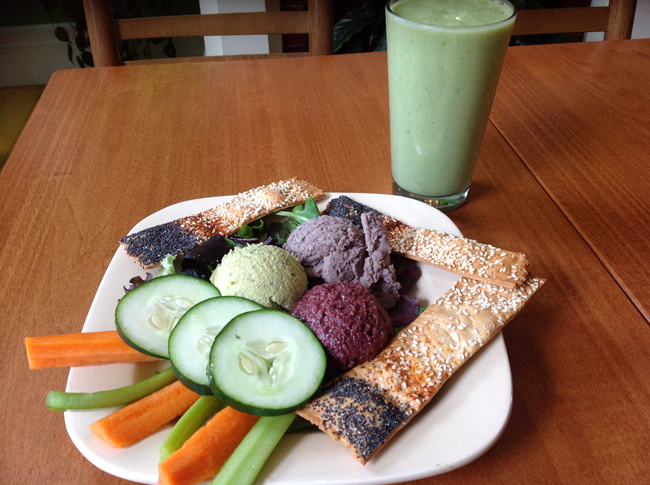 Gaia Dip Trio with Green Smoothie Gaia Fresh Food Café in Carlisle, PA, Serves Up Veggies Galore!