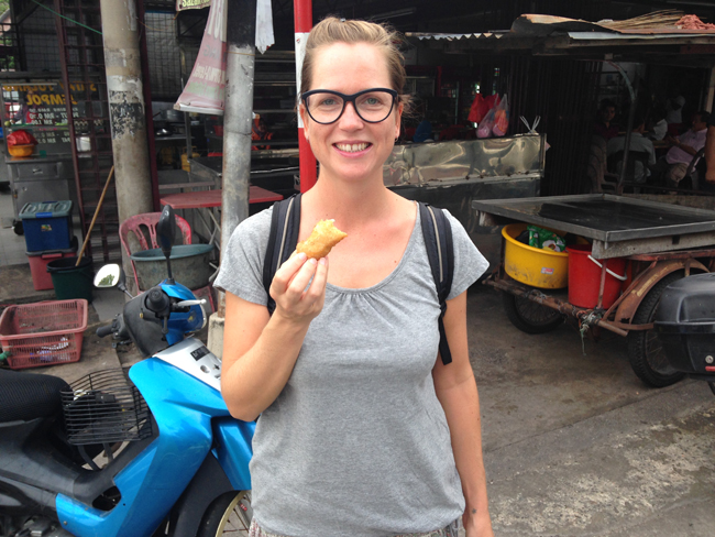 8 VFQ pisang goreng being eaten Vegan Food Quest   Veggin Out and About In Southeast Asia!
