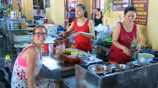 VFQ 5 Caryl at market eating ban xeo Vegan Food Quest   Veggin Out and About In Southeast Asia!