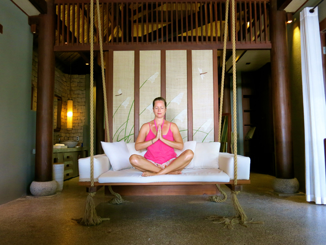 VFQ 7 Caryl on swing at An Lam Villas Vegan Food Quest   Veggin Out and About In Southeast Asia!
