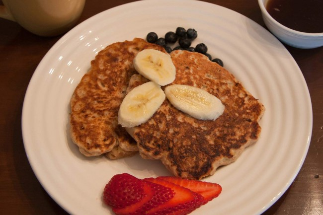 Banana-Spelt Pancakes With Pecans