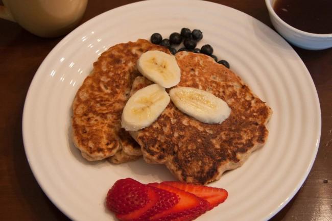 Banana-Spelt Pancakes With Pecans