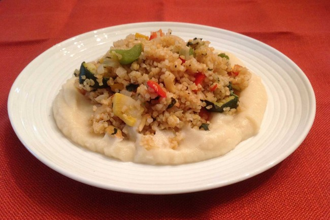 Bulgar Wheat With Broiled And Sautéd Vegetables On  A Bed Of Creamed Cauliflower