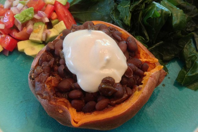 Spicy Black Bean Stuffed Sweet Potato With Lemon Cilantro Salsa