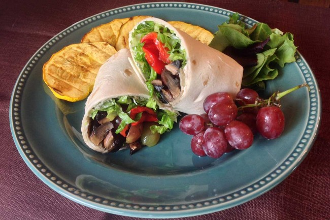 Balsamic Portobello Wrap With Roasted Red Peppers