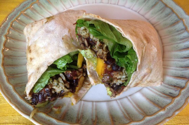 Spicy Black Bean Burrito With Lime-Cilantro Rice And Mango-Avocado Salsa