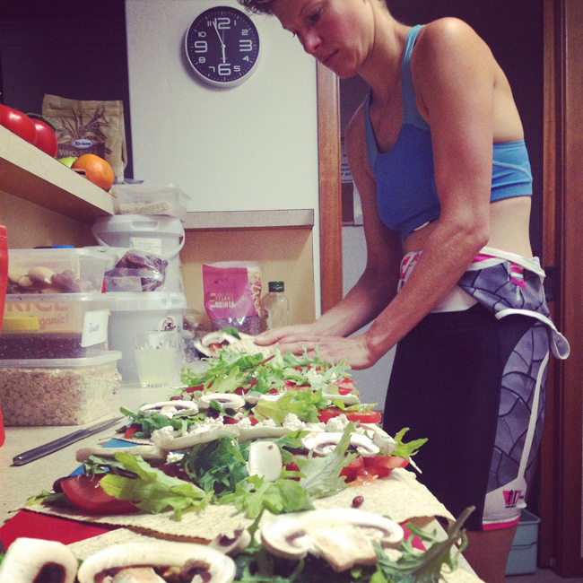 Kate prepares vegan food to sustain her during her strenuous training sessions.