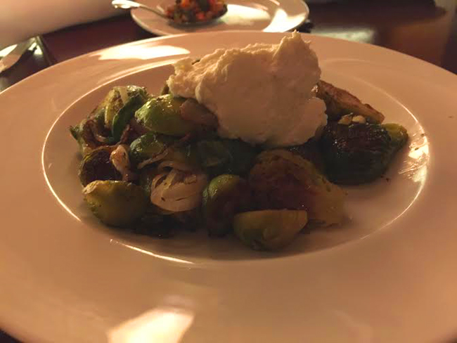 Roasted Brussels Sprouts With Almond Cream Cheese Spotlighting Candle 79    Plant Based Dining At Its Finest!