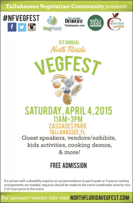 VegFest Flyer1 426x650 Tallahassee Florida Celebrates First Annual North Florida VegFest April 4th In Cascade Park Downtown Tallahassee!