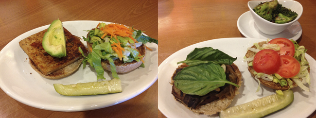 Scorpion Burger (L) & Portobello & Sausage Burger with Lemongrass Broccoli (R)