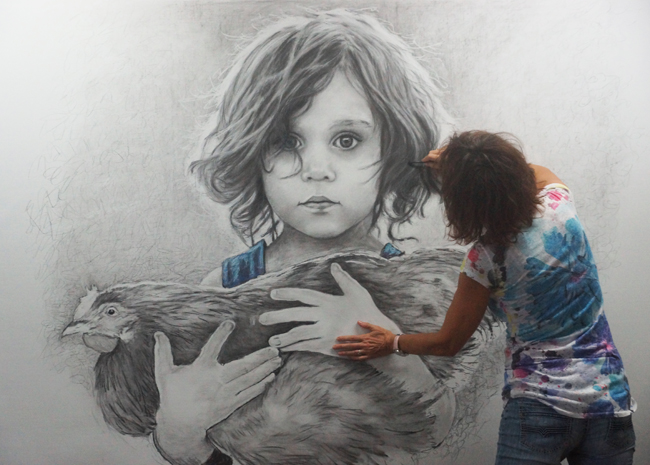 Chantal Boy with Chicken Drawing