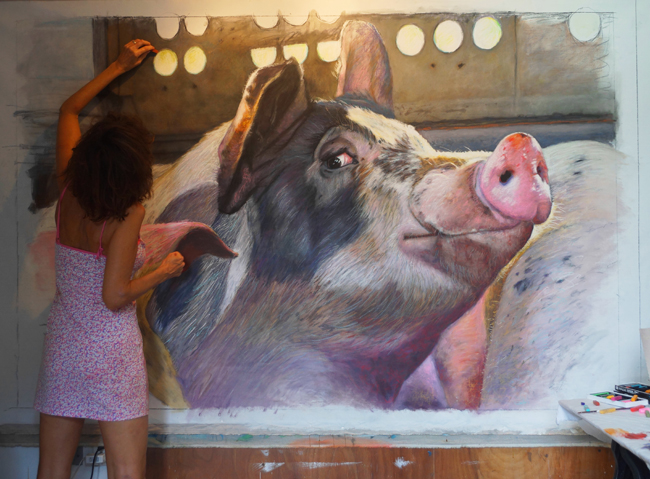 Chantal Pig in Truck Painting